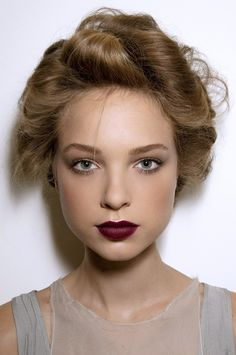 "Dark lips. I love the ""vamp lips"" that are in this season. I'm not sure I could pull it off though...."