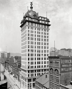 T.J. Keenan Building with the Electric Light Baths on the 10th floor, Pittsburgh, c. 1907 [Shorpy]