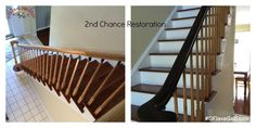 Check out this stylish stair makeover done by 2nd Chance Restoration, https://www.facebook.com/2ndChanceRestoration/timeline. The handrail got a sleek new look with General Finishes Java Gel Stain, #generalfinishes #javagel #getthelook
