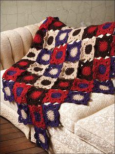 Crochet - Holiday  Seasonal Patterns - Patriotic Patterns - Inside-Out Afghan