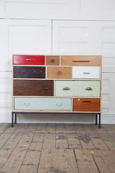 This random collection of drawers work really well in this piece. #upcycle #repurpose #furniture