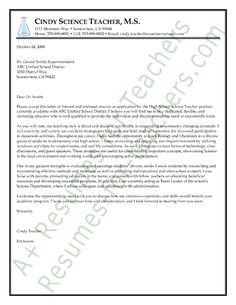 Science teacher cover letter sample for Cover letter for science teacher position