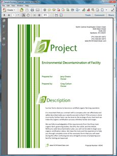 Environmental Cleanup Sample Proposal - The Environmental Cleanup Proposal is an example of a proposal using Proposal Pack to pitch the environmental cleanup of a facility. Create your own custom proposal using the full version of this completed sample as a guide with any Proposal Pack. Hundreds of visual designs to pick from or brand with your own logo and colors. Available only from ProposalKit.com (come over, see this sample and Like our Facebook page to get a 20% discount)