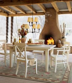 hmmm...incorporating a fireplace on patio