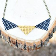 Triangle shaped necklace made from plastic canvas!