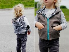 Pattern to make your own hooded vest for kids. Cuteness!