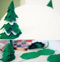 cute little felt trees