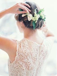 Winter flower crown and BHLDN wedding dress   Kate Weinstein Photo   see more on: http://burnettsboards.com/2014/09/timeless-elegant-snowy-winter-wedding/