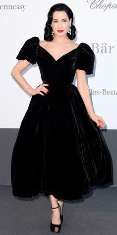 Dita Von Teese in black Ulyana Sergeenko and Chopard jewellery in Cannes 2013
