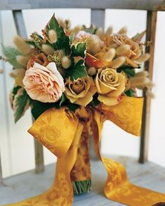 large gold ribbon bouquet