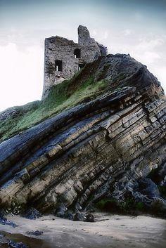Ballybunion Castle, Ireland rock formations, ruin, castles, 14th century, sea, places, rocks, ballybunion castl, ireland travel