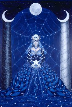 The High Priestess is the Moon Maiden/Goddess in the cycles of the moon, the first aspect/phase of the Triple Goddess. She has a silent mysterious power that can look into one's soul.