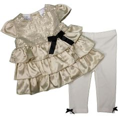 FAO Schwarz Girls' Satin Top & Legging Pants Set. A sweet but comfortable outfit for baby girl's first Christmas. #BRUChristmas