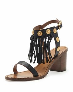 Leather Fringe Sandal, Black by Valentino at Bergdorf Goodman.