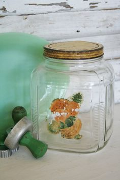 Large Vintage Hoosier Jar with Shabby Yellow by TheFarmhousePorch