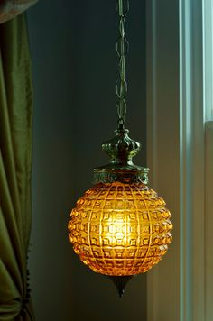 Vintage Hanging Swag Lighting- Amber Glass, Gold hardware, To hang over built in window seat. - Ordered!