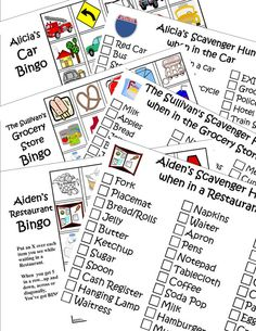Print 6 Travel Games.  Personalized Bingo and Scavenger Hunt (or I Spy) for the Car, Restaurant and Grocery Store. Download  PDF. Print. $7.99, via Etsy.