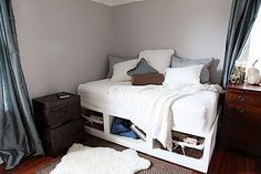 Twin Storage Bed: I'd love to make two of these to stick into a corner of our future game room