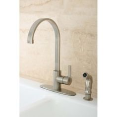 @Overstock - Add an updated look to your kitchen decor with this Continental Modern high-arc faucet. This J-shaped spout and single-lever handle faucet features a satin nickel finish.http://www.overstock.com/Home-Garden/Continental-Modern-Satin-Nickel-Kitchen-Faucet/5255900/product.html?CID=214117 $112.99