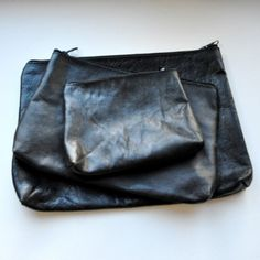 black leather pouches