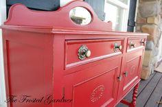 repainted furniture - beautiful red!