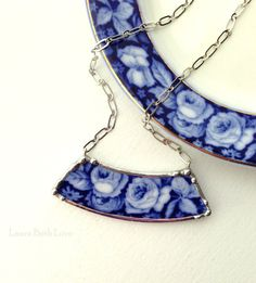 Broken china jewelry necklace antique English flow blue roses china made from broken plate