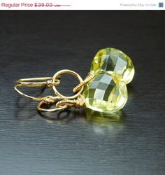HOLIDAY SALE Lemon Quartz Wire Wrapped Earrings by by agusha, $27.30