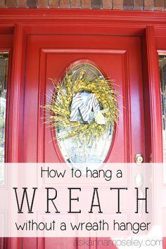 decor, christmas wreaths, red doors, glass doors, glasses, craftydiy idea, wreath hanger, glass door wreath, geckos