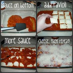 Ravioli Bake.  4 ingredients - 1 jar of pasta sauce, 1 package (25oz to 27oz) of frozen meat-filled ravioli, 2 cups of shredded mozzarella cheese, grated parmesan cheese