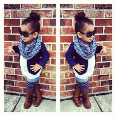 Toddler outfit; blazer, boots, scarf   a lil too grown but its still cute lol