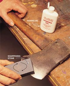 How to sharpen Tools. Axe, knife, shovel, and lawn mower blades.