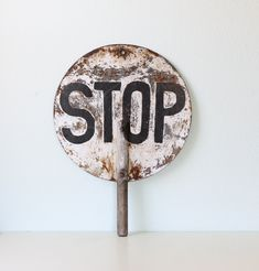 Vintage STOP Sign - Black and White.