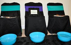pedicure area for turquoise and purple spa party