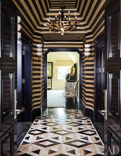 Striped vestibule in the master suite of a Bel Air home, designed by Kelly Wearstler