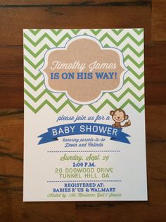 Green and Blue Chevron Monkey Themed Baby Shower Invitations from Woven Event Co.