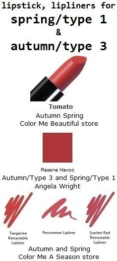 WARM for BOTH #type1/spring & #type3/autumn.top:color me beautiful lipstick for spring & autumn.middle:angela wright red for #type1/spring & #type3/autumn: http://pinterest.com/pin/525021269029559808 bottom: colormeaseason.com lipliner for spring & autumn.find more: www.temptalia.com/swatch-gallery?type=156=Sort also: http://pinterest.com/pin/525021269029770723 http://pinterest.com/pin/525021269029555152 http://pinterest.com/pin/525021269029723981 http://pinterest.com/pin/525021269029751612