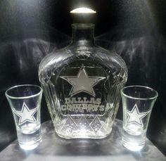 Etched Dallas Cowboys Vintage Crown Royal Bottle with Two Shot Glasses | eBay
