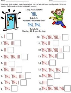 Here is a rhyme to help students understand the proper formation of tally marks!