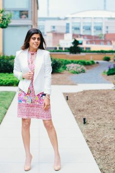 "STYLE TIP - A feminine floral dress is ""office ready"" with the addition of a crisp white jacket and nude pumps  