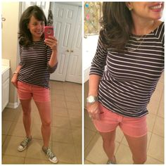 Navy striped tee, coral shorts, grey converse, and simple gold jewelry!