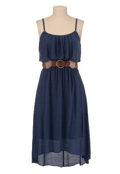 Belted High-Low Ruffle Front Dress available at #Maurices