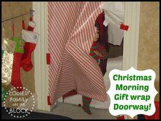 christmas morning gift wrap doorway the doors, gift wrap, christma morn, giftwrap, door ways, famili, christmas morning, wrap doorway, christmas gifts