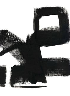 ABSTRACT BLACK AND WHITE PAINTING PRINT UNTITLED 1