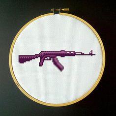 Purple AK-47 Assault Rifle Cross Stitch PDF Pattern via Etsy