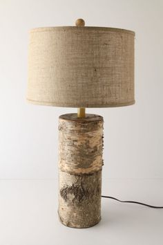 birch, cabin, cottag, table lamps, tree stumps, rustic decor, wood tables, shade, log