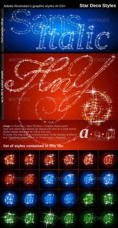 Illustrator Graphic Styles. Stars Deco - GraphicRiver Item for Sale