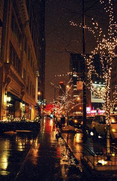 Chicago, IL ~ At night and snowing.