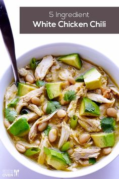 5 ingredient White Chicken Chili Recipe - So Easy to make and cheap!