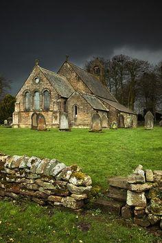 An Old Church Under A Dark Sky Northumberland, England