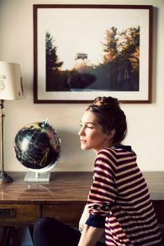 cup, hair tutorials, framed photos, style, braid top, top bun, hair buns, globe, stripe
